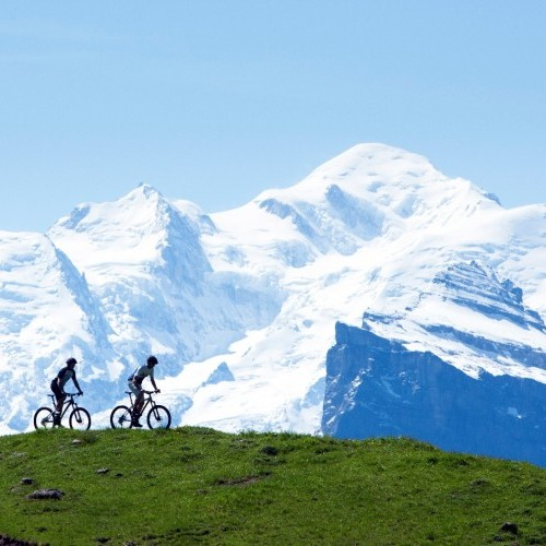 Mountain bikers - Mt Blanc in the background